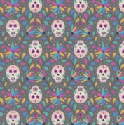 Lewis & Irene Paracas - 5343 - Skulls, Multicoloured Brights on Dark Grey - A204.3 - Cotton Fabric